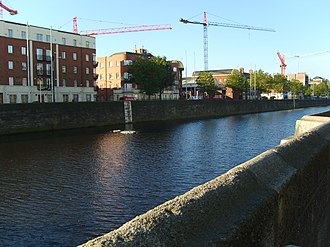 History of Dublin to 795 - The River Liffey, at the point where the ford of hurdles was located