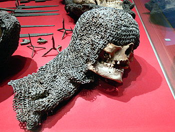 Skull of one of the victims of Waldemar Atterdag's invasion of 1361, exhibited in the Gotlands Fornsalen Museum in Visby (Gotland)