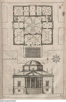 Planimetria e prospetto principale della villa, disegno di Vincenzo Scamozzi, 1697