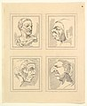 Four Heads (from Characaturas by Leonardo da Vinci, from Drawings by Wincelslaus Hollar, out of the Portland Museum) MET DP824108.jpg