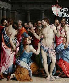 Francesco de' Rossi's painting 'The Doubting of St. Thomas'.jpg