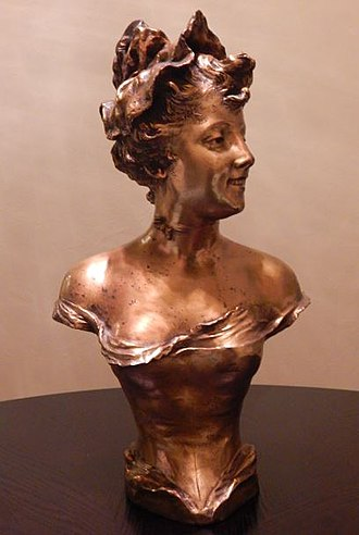 Franz Iffland - A gilt bronze bust of a young woman by Iffland, dated 1893