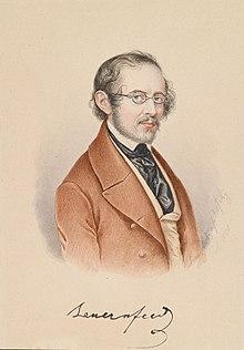 Franz Dobiaschofsky: Porträt Eduard von Bauernfeld, 1850 (Quelle: Wikimedia)