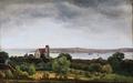 Frederik Sødring - Kalvehave Kirke med udsigt over Præstø Fjord - 1829.png