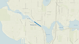 Fremont Cut - Map of Lake Washington Ship Canal with Fremont Cut shaded in dark blue.