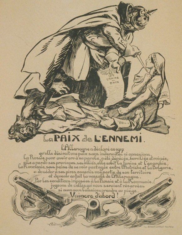 French caricature on the Romanian-German Peace Treaty