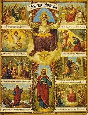 Incarnation (Christianity) - The Incarnation illustrated with scenes from the Old Testaments and the Gospels, with the Trinity in the central column, by Fridolin Leiber, 19th century.