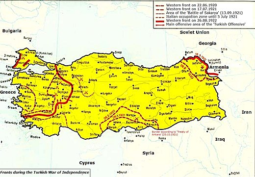 Map showing the Western, Eastern and Southern fronts during the Turkish War of Independence. Fronts during the Turkish War of Independence.jpg