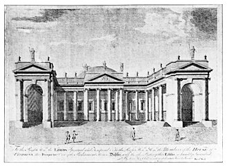 Irish House of Commons - Drawing of the front of the Irish Parliament House with the dome, seen from the street-level, in the 18th century