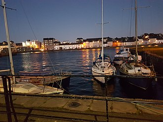 Galway - Galway River Corrib  (Riverside) Quay near Spanish arch captured on a winter evening.
