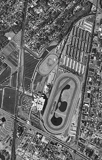 Garden State Park Racetrack - Aerial view of the facility in 1995