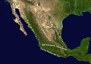 Mexican Plateau - Image: Geographic Map of Mexico