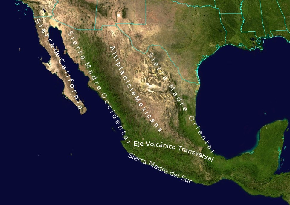 Geographic map of the highest Mountain Ranges of Mexico.