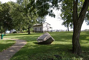 Old Clarksville Site - Image: George Rogers Clark cabin reproduction at Clarksville, distant