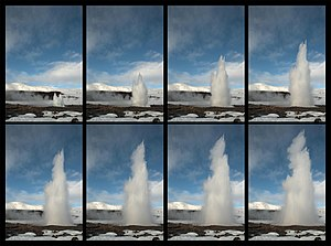 Geysir - A sequence of images taken during an eruption of Great Geysir in 2012