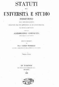 Gherardi, Alessandro – Statuti della Università e studio fiorentino dell'anno 1387, 1881 – BEIC 14501728.jpg
