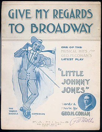 "Broadway theatre - Sheet music to ""Give My Regards"""