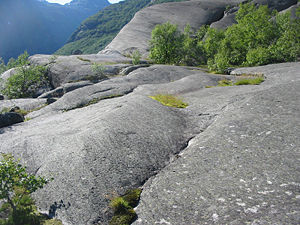 Abrasion (geology) - Glacially abraded rocks in western Norway near Jostedalsbreen glacier.