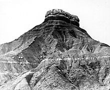 Glass Mountain, capped with massive gypsum, Major County, Oklahoma. (USGS photo by George Irving Adams, 1900) GlassMtsOK 1904 agi00116.jpg
