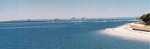 Bribie Island - View of the Glass House Mountains from Bribie Island.