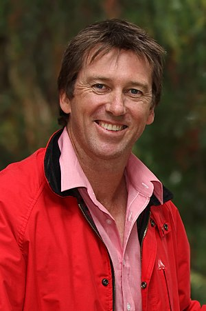 Glenn McGrath - McGrath, wearing the pink of the McGrath Foundation