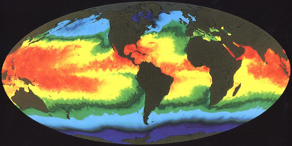Карта температур світового океану