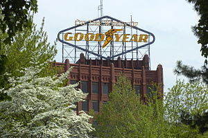 Goodyear Hall-Ohio Savings and Trust Company - Goodyear sign and upper floors
