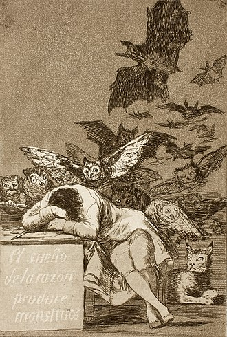 Aquatint - The Sleep of Reason Produces Monsters, Francisco Goya (1799) – created using aquatint (notice shaded background) and etching techniques
