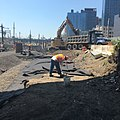 Grading of soil above a newly installed pipe in the future LIRR Mid-day Storage Yard. (CQ033, 5-08-2018) (42152092452).jpg