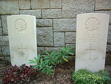 Graves of Canadian soldiers (Pvt. J. Maltese, Winnipeg Grenadiers and Rifleman A.M. Moir, Royal Rifles of Canada)