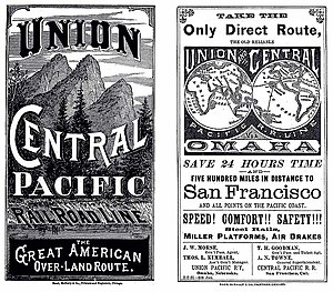 "Overland Limited (UP train) - CPRR/UPRR ""The Great American Over-land Route"" Time Table cover (1881)"