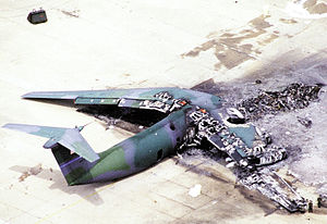 Green Ramp disaster - Wreckage of the Lockheed C-141 Starlifter destroyed by the accident.