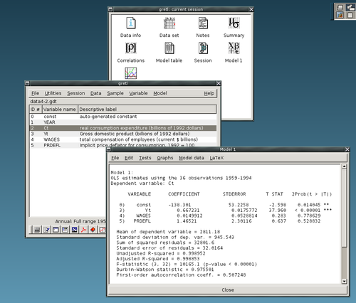 gretl, an example of an open source statistical package Gretl screenshot.png