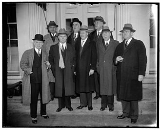 Brent Spence - Group of legislators leaves White House after asking Franklin D. Roosevelt for $80,000,000 for flood control in Ohio Valley, March 7, 1938. Spence can be seen at right in the back row.