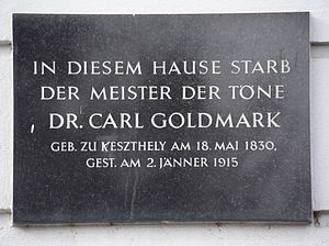 Karl Goldmark - Memorial for Goldmark in Vienna.