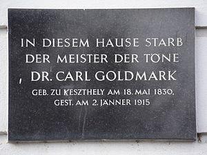 Karl Goldmark - Memorial for Goldmark in Vienna.