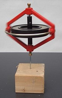 This gyroscope remains upright while spinning due to its angular momentum.