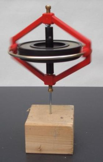 Angular momentum - This gyroscope remains upright while spinning due to the conservation of its angular momentum.