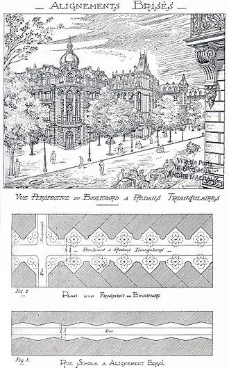 Eugène Hénard - Sample stepped boulevard design