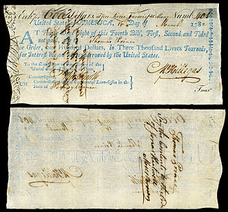 Michael Hillegas - Check signed by Hillegas as Treasurer of the United States (1782).