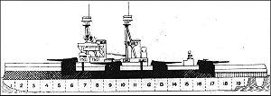 HMS Bellerophon (1907) - Broadside view of Bellerophon from Jane's Fighting Ships, 1919