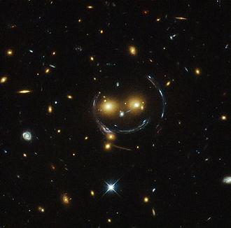 Einstein ring - Image: HST Smiling Galaxy Cluster SDSS J1038+4849 20150210