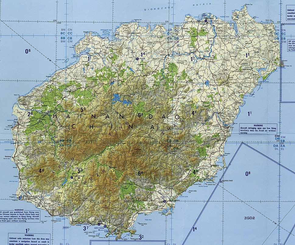 Hainan topographical map - cropped