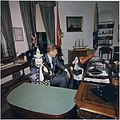 Halloween Visitors to the Oval Office. Caroline Kennedy, President Kennedy, John F. Kennedy, Jr. White House, Oval... - NARA - 194260.jpg