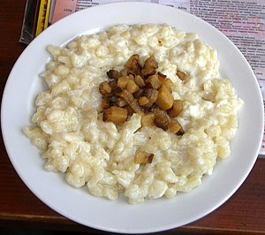 Traditional food - Bryndzové halušky (potato dumplings with sheep's-milk cheese) is a traditional food of shepherds in Slovakia.