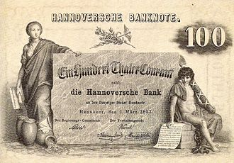 Kingdom of Hanover - 100 thaler banknote from 1857.