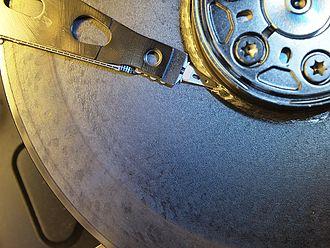 Hard disk drive failure - A head crash, one type of disk failure