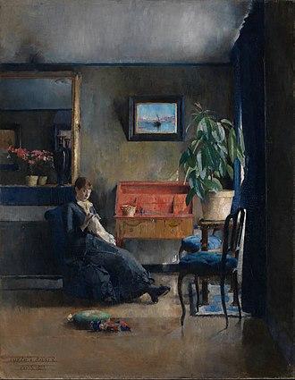 Harriet Backer - Blått interiør (1883)  National Museum