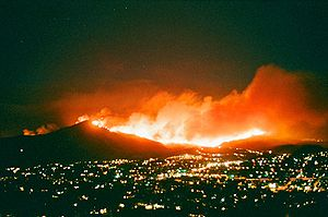 October 2007 California wildfires - The Harris Fire burning on Mount San Miguel, on the morning of October 23, 2007