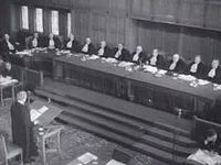 Sir Hartley Shawcross addressing the Court